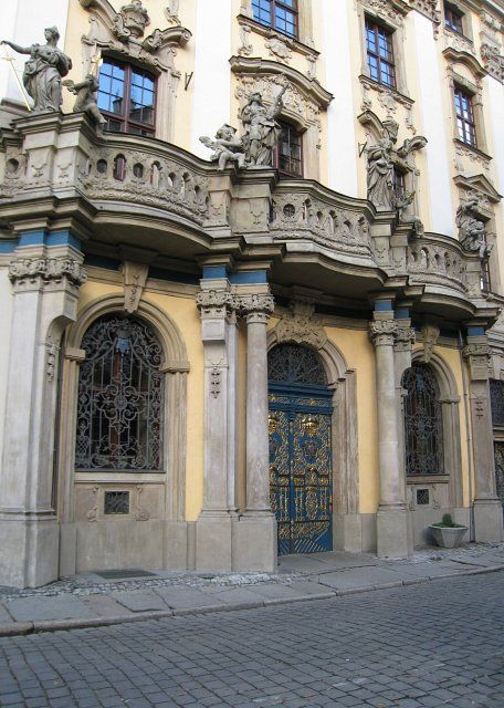 Wrocław, entrance to the baroque University' main building