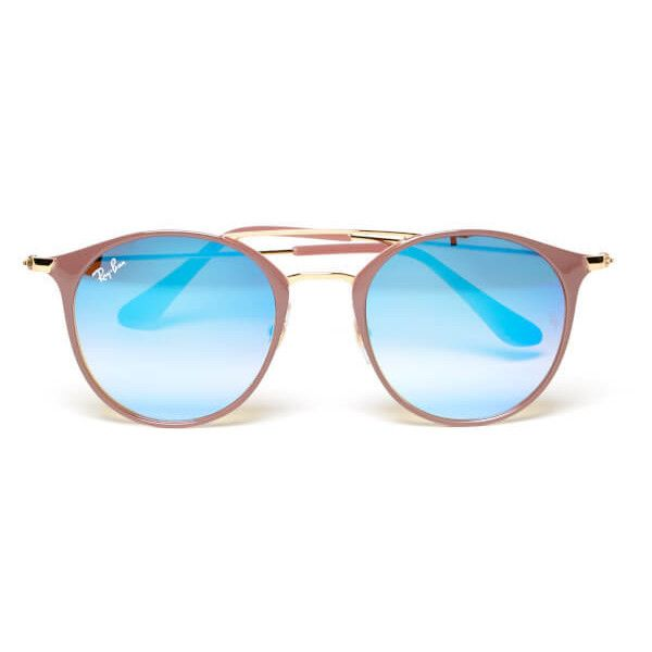 Ray-Ban Round Metal Rose Frame Sunglasses - Gold Top Beige/Blue Flash (830 MYR) ❤ liked on Polyvore featuring accessories, eyewear, sunglasses, ray ban sunglasses, retro round sunglasses, rose lens sunglasses, round sunglasses and mirrored lens sunglasses