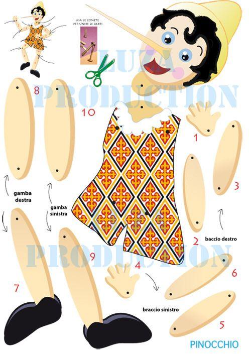 Pinocchio-marionetta di carta da tagliare / PDF : Giochi, giocattoli di luza