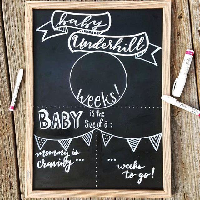 Weekly pregnancy sign chalkboard pregnancy template trimester sign gender neutral mommy to for Chalkboard sign templates