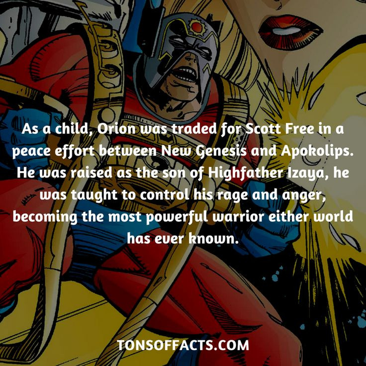 As a child, Orion was traded for Scott Free in a peace effort between New Genesis and Apokolips. He was raised as the son of Highfather Izaya, he was taught to control his rage and anger, becoming the most powerful warrior either world has ever known. #orion #tvshow #justiceleague #comics #dccomics #interesting #fact #facts #trivia #superheroes #memes #1 #movies #darkseid