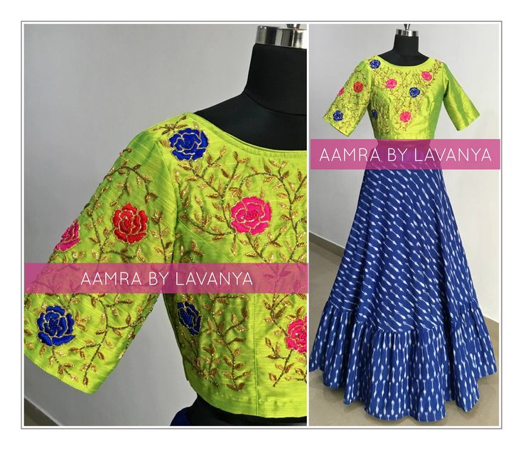 RUFFLE with HANDLOOM. Beautiful blue color skirt and parrot green color designer blouse with floret lata design hand embroidery gold thread work.   10 February 2018