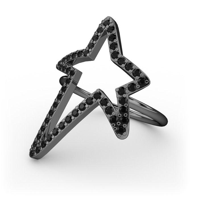 Elva Yıldız Yüzük - Rodolit garnet 925 ayar siyah rodyum kaplama gümüş yüzük | Mortaki.com