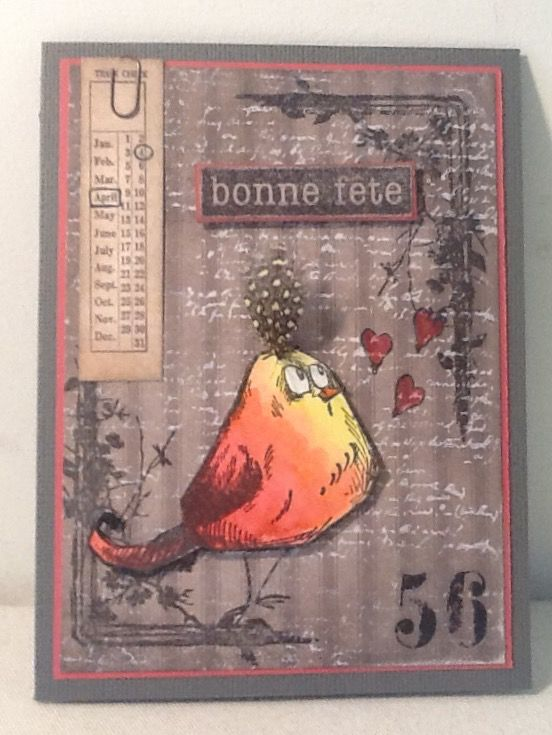 Tim Holtz crazy bird birthday card