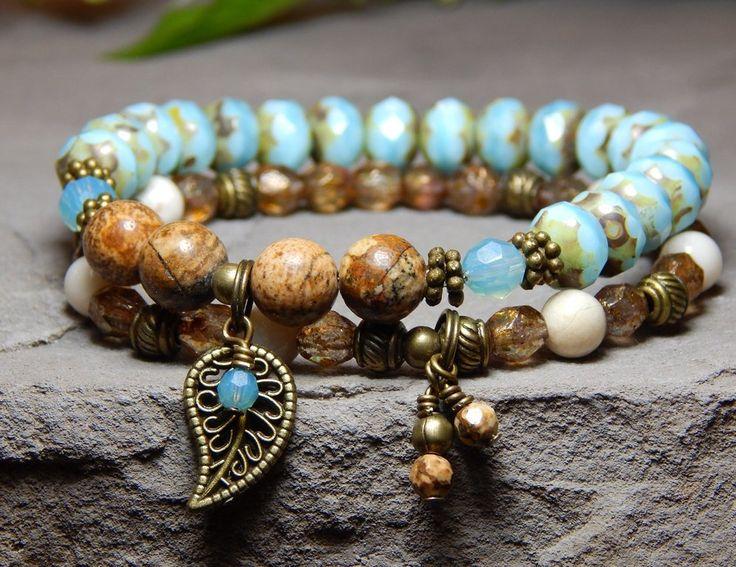 Set of 2 Stacked Boho Bracelets Beaded bracelets for women.