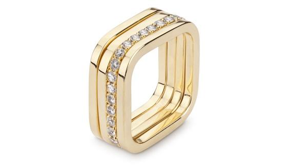 Handmade 18ct yellow gold full pave diamond set square ring stack