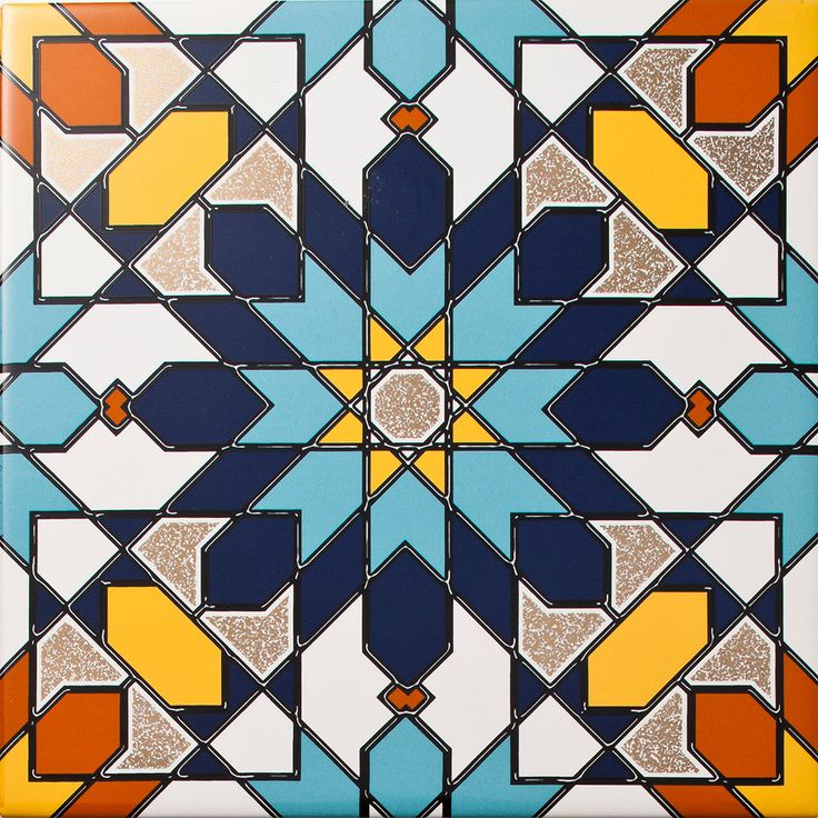 Arabesque - Almas Inset Tile. A geomtric patterned tile with a design reminiscent to a flower, This geometric tile made up of bright colours and shapes has an interlinking design allowing the Almas Inset Tile to be used alone or as part of a larger wall feature.