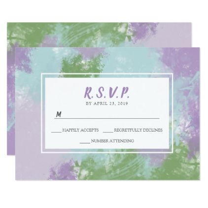 Purple Green watercolor wedding RSVP reply card - invitations custom unique diy personalize occasions