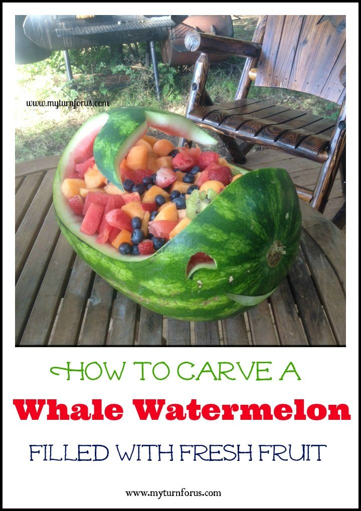 Carve this fun whale watermelon for your next picnic or cookout!!  A bit of whimsey and filled with heathy fresh fruit!       http://www.myturnforus.com/2015/07/whale-watermelon.html