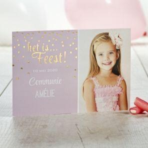 'Het is Feest!' Snoezig roze fotokaartje met goudfolie| Tadaaz #communie #foto #lentefeest