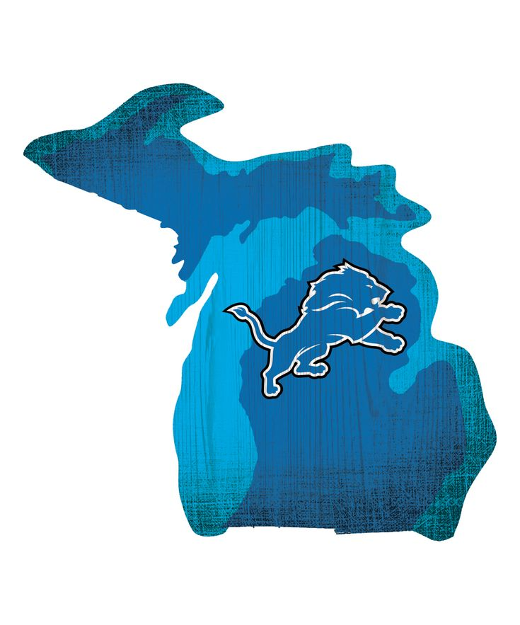 Detroit Lions Team Color Logo State Wall Sign