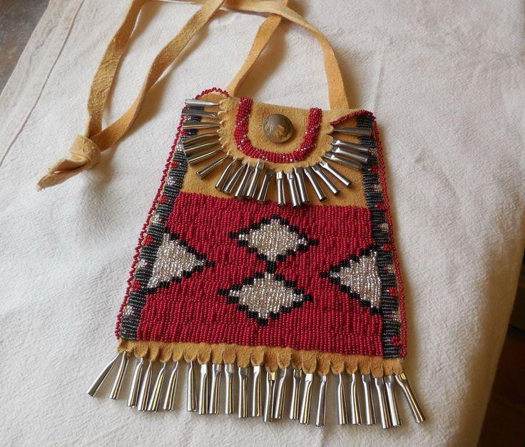 Beaded Native American Strike A Light Pouch Purse Brain Tan Buckskin LG Size | eBay