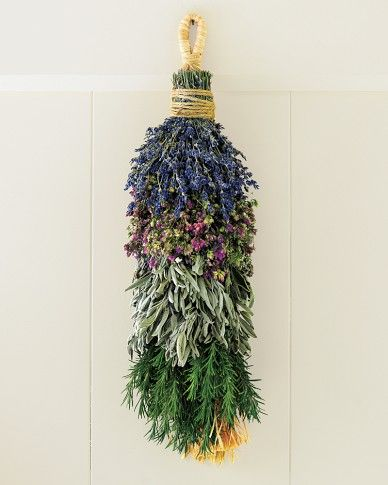 Hang this swag in the kitchen, then snip off sprigs of preserved lavender, Santa…