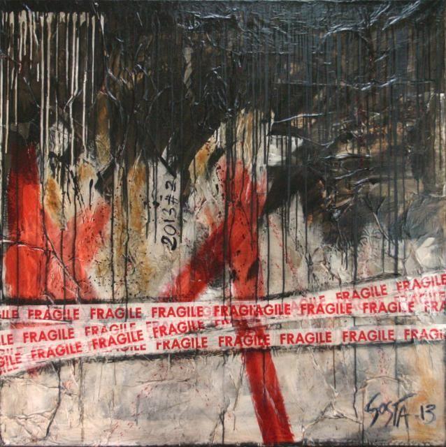 Sophie costa tableau collage abstrait enti rement for Tableau peinture contemporain