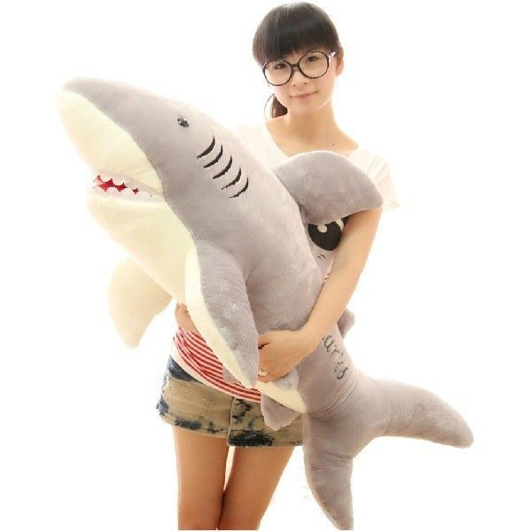 "FD673 Plush Big Great White Shark Jaws Stuffed Animal Toy Doll 39""L Cute Gift"