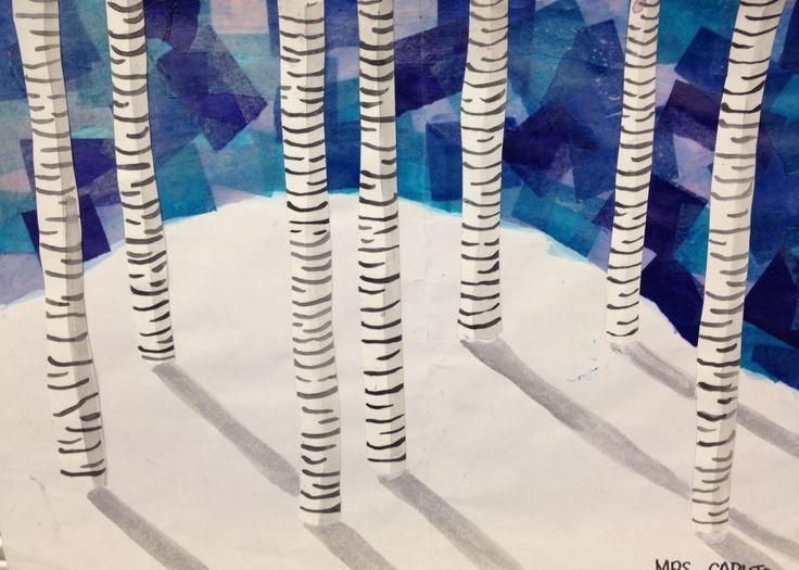 2nd grade - Winter Birch Trees - mixed media; tissue paper, acrylic gloss medium, watercolor