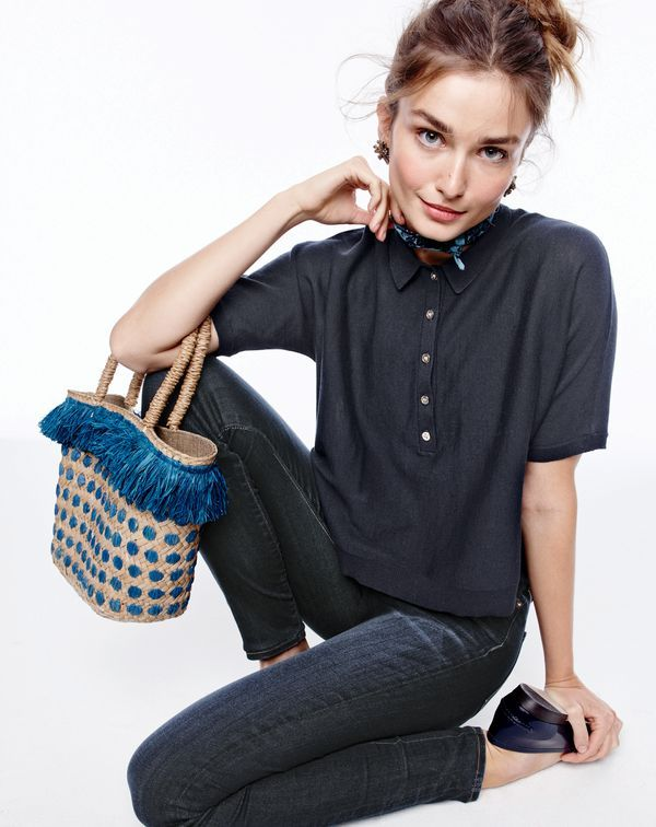 J.Crew women's summerweight cotton polo sweater, Point Sur hightower skinny jean in drifter wash, explosion cluster earrings, men's Italian linen pocket square in floral, Kayu™ kama tote and Collins leather loafers.