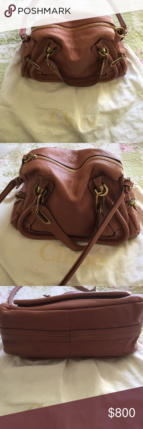 Chloe Paraty small in rare pink Chloe Paraty small shoulder bag in unique rusty pink. Loved this purse so much so wear and tear is pictured. Picture of receipt and authenticity card is available. Please note shoulder strap does not remove. This pink color is a rare find! Chloe Bags Shoulder Bags