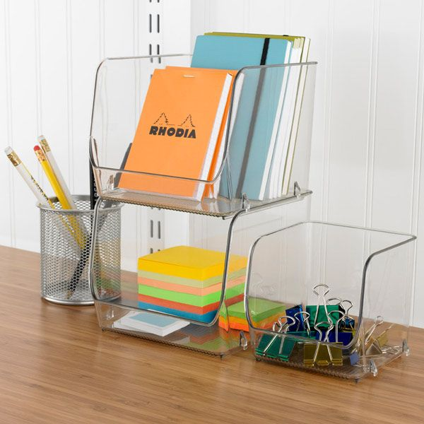 Enjoy free shipping on all purchases over $75 and free in-store pickup on the Linus Open Stackable Bins at The Container Store. When you want a organization solution that's efficient and functional, our Linus Open Stacking Bins fill the bill.  The plastic provides visibility making it easy to see what you are storing.  Stack several bins to round up paper clips, notepads, craft supplies, toiletries or cosmetics.