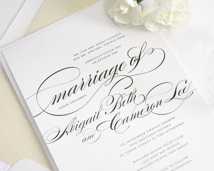Delightful Beautiful Wedding Invitation In Black And White With Script   Wedding  Invitations By Shine
