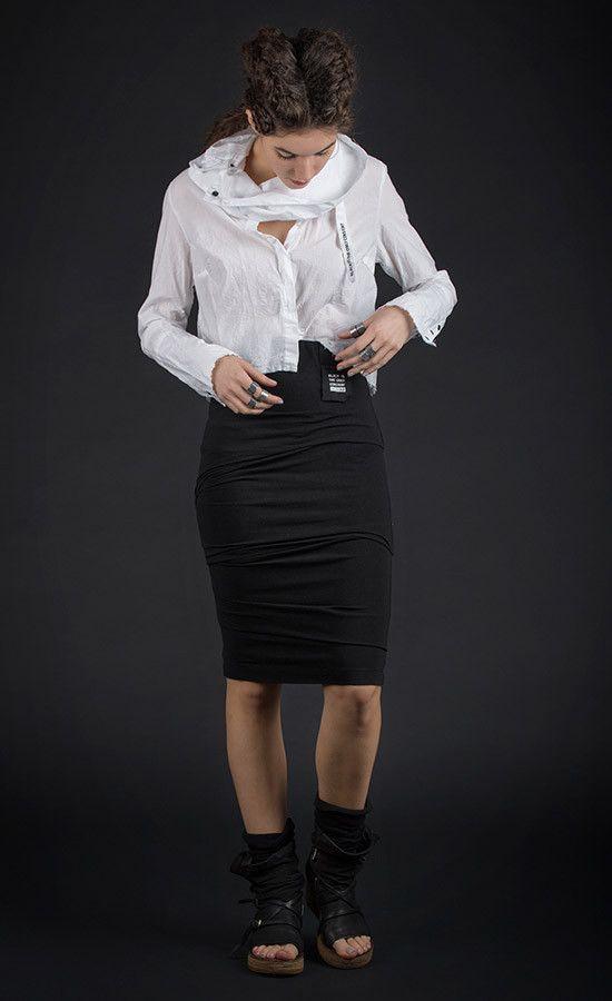 TUCKEE - elastic jersey pencil black skirt  | Studio B3 |