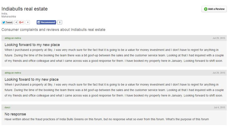 Indiabulls Real Estate    wwwplaintboardin complaints - consumer complaint form