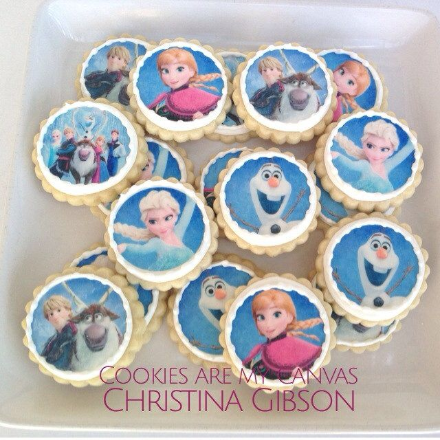 Disney's Frozen Cookies; Frozen Party; Snowman Party; Olaf; Anna; Elsa; Hans; snowflake cookie; decorated cookies; let it go; edible image cookie