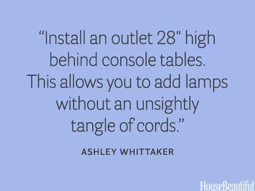 Where to install an outlet. housebeautiful.com. #designer_quotes #console_table