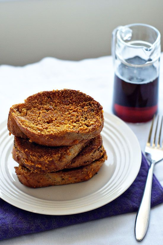 Really Crunchy French Toast: Captain crunch cereal and a good fry in the oven makes for a breakfast that will knock your socks off!