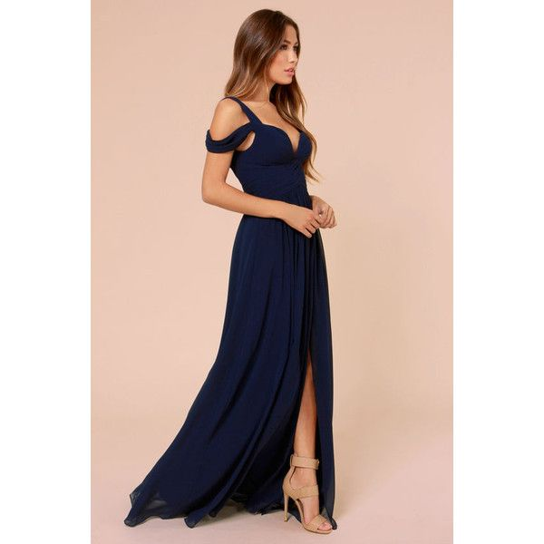 Bariano Ocean of Elegance Navy Blue Maxi Dress ($179) ❤ liked on Polyvore featuring dresses, gowns, vestidos, outfit, navy evening gown, pink evening gowns, pink cocktail dress, evening gowns and maxi dress