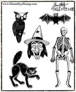 Tim Holtz® Stampers Anonymous - Cling Mount Stamps - Retro Halloween