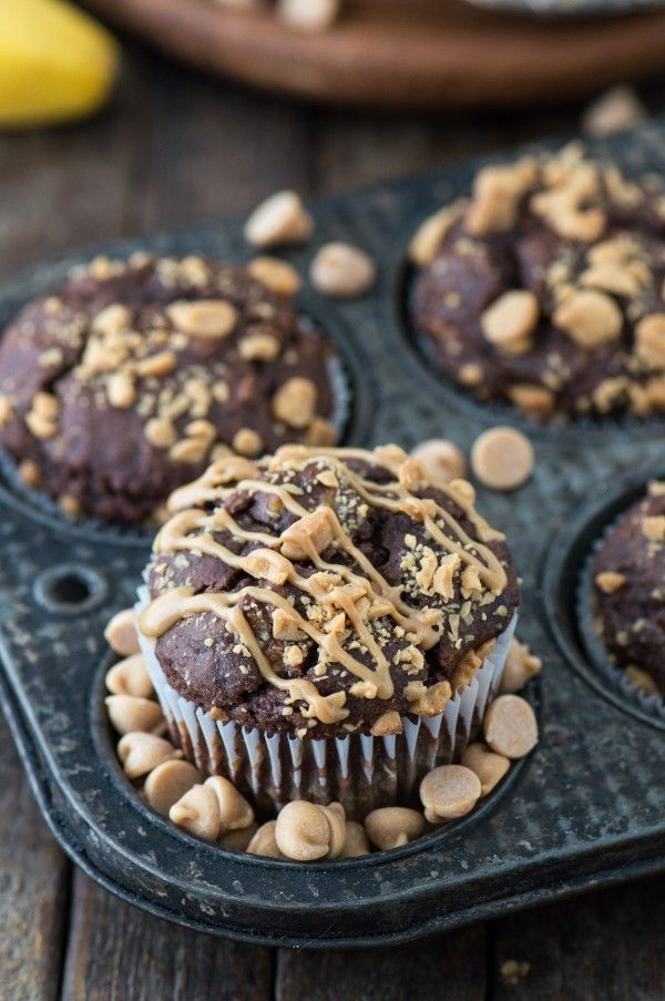 Healthy chocolate peanut butter chip muffins made with greek yogurt, honey, and bananas!