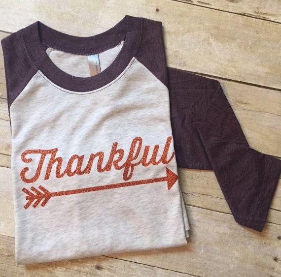Glitter 'thankful' raglan tee