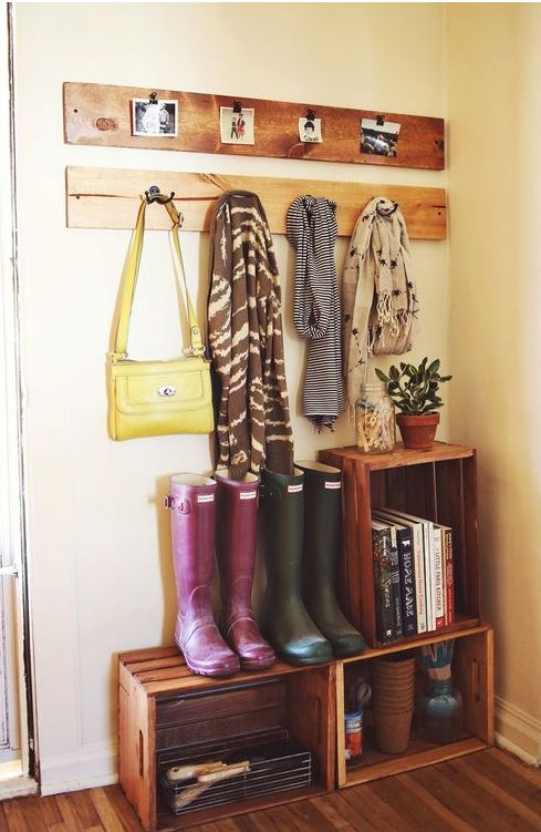 Inexpensive crates for entryway organization