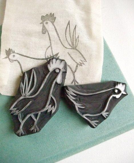 Chicken rubber stamp | hen or rooster | farm animal hand carved stamp | diy + block printingAllison Ward Martin