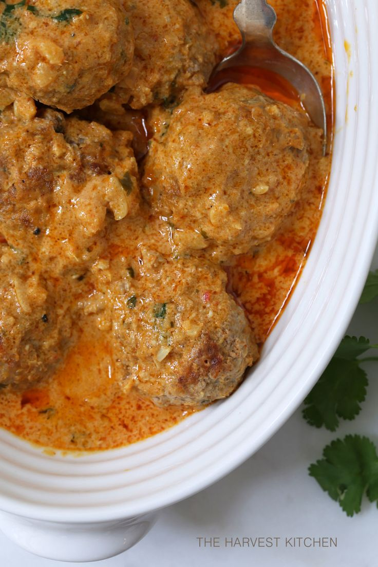 Coconut Curry Turkey Meatballs -Serve over quinoa and generously garnish with chopped cilantro & green onions (serves 5)
