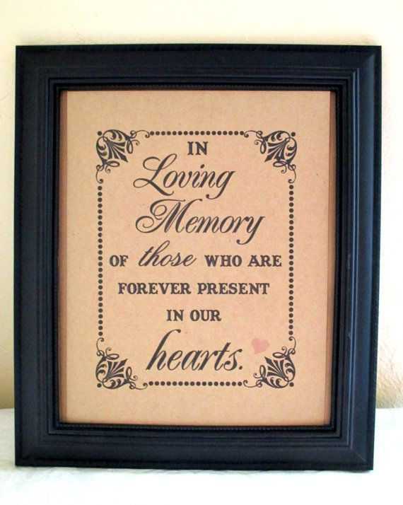 8 x 10 PRINT  Loved Ones/ Remembrance / In Loving Memory Of - Wedding Sign - Single Sheet (Style: LOVING MEMORY)