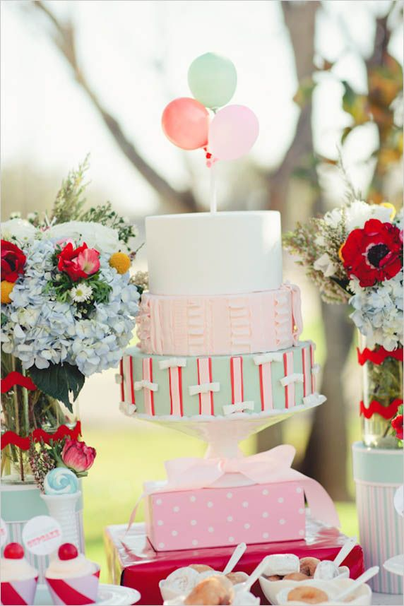 Powder Blue & Blush Wedding Cake