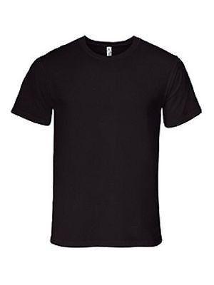 Alstyle Activewear Mens 100% Cotton Black Plain T-Shirt  7fa7c88f8a
