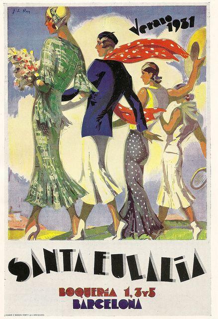 """Santa Eulalia"" - Barcelona, Verano 1931 - poster by J L Rey, 1931"