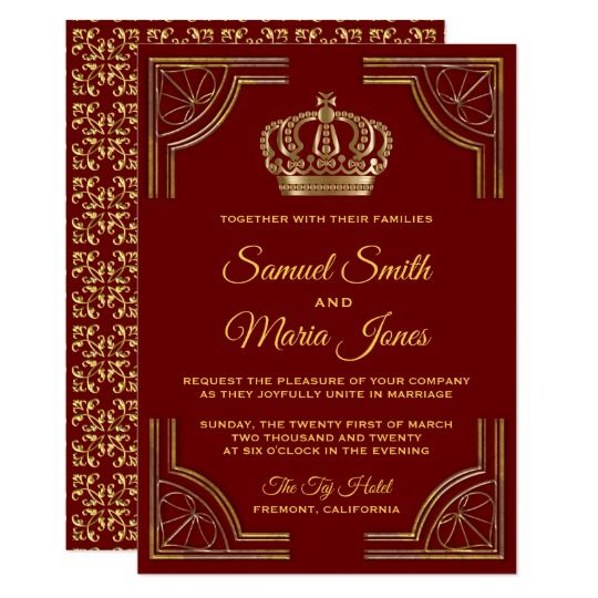 Elegant Red Gold Ornate Crown Wedding Invitation. Amaze your guests with this royal theme wedding invitation featuring an elegant gold ornate border and beautiful crown against a dark red background. Simply add your event details on this easy-to-use template to make it a one-of-a-kind invitation. Flip the card over to reveal a beautiful pattern on the back of the card. #ad #ornate #red #gold #wedding #crown #weddinginvitation