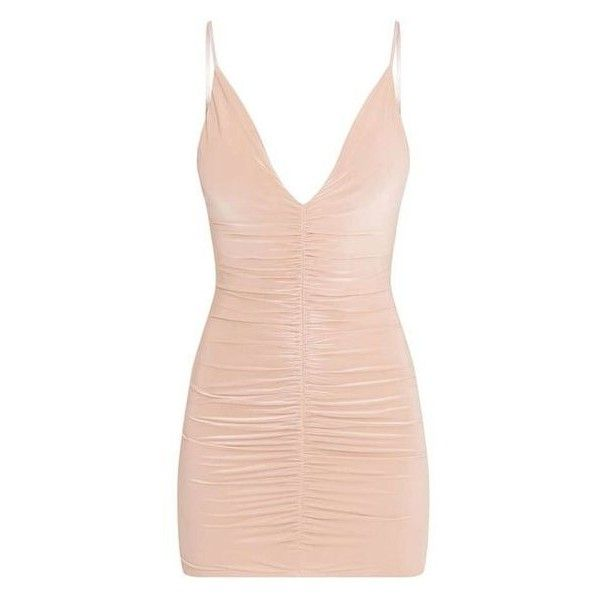 Evangeline Nude Slinky Ruched Plunge Bodycon Dress ❤ liked on Polyvore featuring dresses, pink cocktail dress, shirred dress, pink bodycon dress, pink dress and pink ruched dress