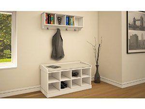 Kempton Hallway Storage Bench and Wall Storage Shelf Rack with Coat Hooks - Perfect Shoe Storage Unit (White): Amazon.co.uk: Kitchen & Home