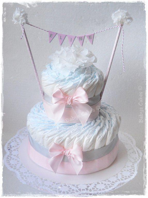 Gâteau de couches Eline cadeau naissance fille #gateaudecouches #diapercake #babyshower