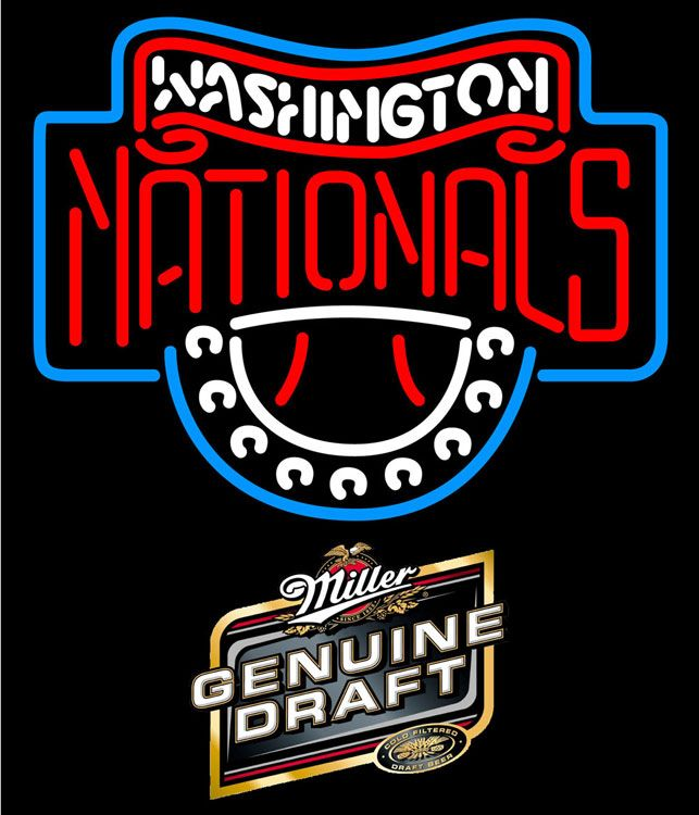 Miller Genuine Draft Washington Nationals MLB Neon Sign 3 0010, Miller MGD with MLB Neon Signs | Beer with Sports Signs. Makes a great gift. High impact, eye catching, real glass tube neon sign. In stock. Ships in 5 days or less. Brand New Indoor Neon Sign. Neon Tube thickness is 9MM. All Neon Signs have 1 year warranty and 0% breakage guarantee.