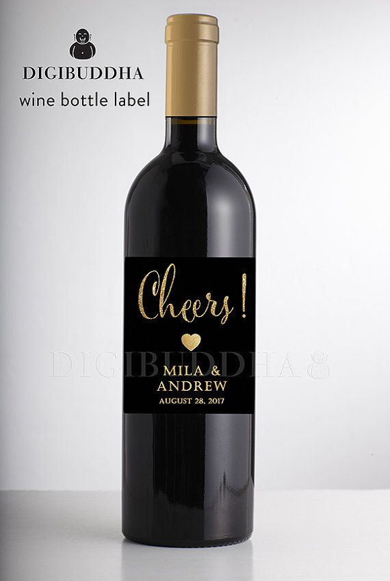 Black & Gold Glitter WEDDING WINE LABEL Modern Glam Boho Chic Art Deco Rehearsal Engagement Personalized Waterproof Wine Bottle Labels available at digibuddha.com