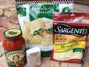 Easy Baked Spinach Ravioli Recipe that starts with a bag of frozen ravioli from Costco!