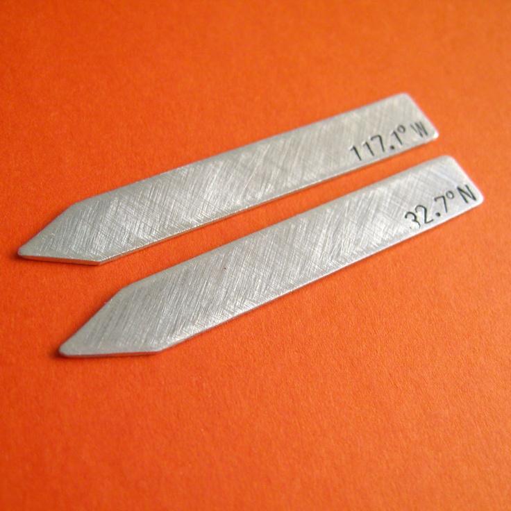 Latitude & Longitude Collar Stays -Custom stamped brushed aluminum. $18.00, via Etsy.