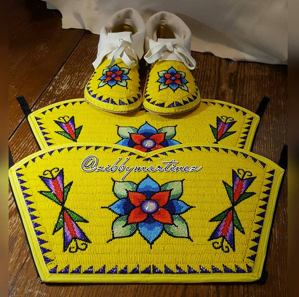 Beaded moccasins and leggings by  Zibby Martinez #beadwork #beading #powwow