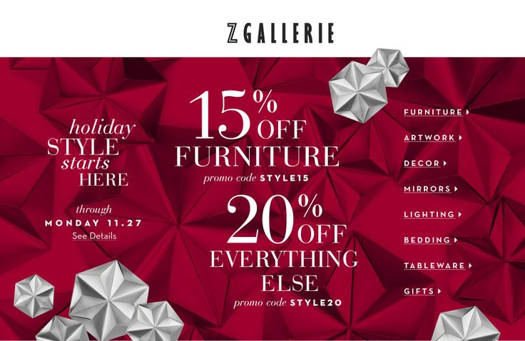 Online & In-store! 15% #Off Furniture OR 20% Off Everything Else.  Store: #ZGallerie Scope: Entire Store Ends On : 11/28/2017  Get more deals: http://www.geoqpons.com/Z-Gallerie-coupon-codes  Get our Android mobile App: https://play.google.com/store/apps/details?id=com.mm.views  Get our iOS mobile App: https://itunes.apple.com/us/app/geoqpons-local-coupons-discounts/id397729759?mt=8